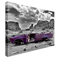 Abandoned Purple Vintage Car Canvas Wall Art Picture Print