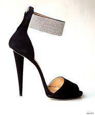 new $1295 Giuseppe ZANOTTI black ALL JEWELED ankle strap shoes 40.5 10.5 - ART
