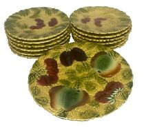 More details for vintage sarreguemines majolica 9.5in fruit tazza and 12 x 7.5in cherry plates