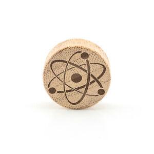 Atom Wood Ear Plug ear Gauge - Laser Engraved Bamboo or Rose wood