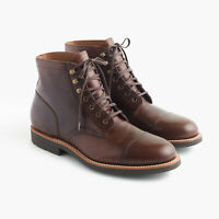 NEW $248 J. Crew Men's Kenton Leather Cap Toe Boots Burnished Tobacco F4446 - 12