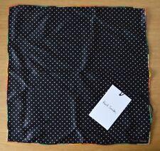 PAUL SMITH Artist stripe black white dot 100% silk pocket square handkerchief