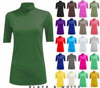 Women Short Sleeve Plain Turtle Polo Neck Ladies Stretch Plus Size Top T Shirt