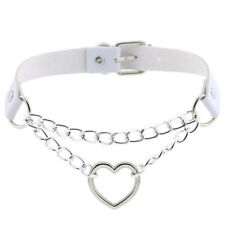 Gothic Punk Leather Choker Heart Pendant Chain Buckle Collar Necklace JeweBL#L