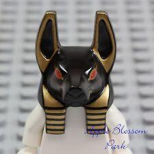 NEW Lego Pharaoh's Quest ANUBIS GUARD HEAD - Black w/Minifig Red Mummy Eyes 7327