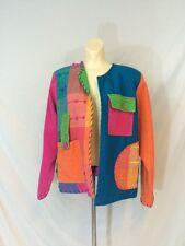 Vtg 1990s Crystal Jacket Hip Hop Fly Girl Style Woven Color Block Size Medium