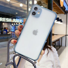 Para iPhone 11 Pro Max XS XR X 8 7 SE Funda Acrílico Transparente Suave + Cordón