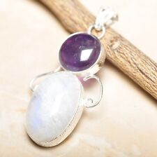 """Fire White Rainbow Moonstone Opal 925 Sterling Silver 2.5"""" Pendant #P14435"""