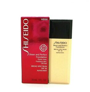 Shiseido Sheer And Perfect Foundation SPF 18 ~ WB 60 Natural Deep Warm Beige ~