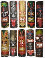 """Set 10 Polynesian Hawaiian Wood Tiki Style Wall Masks Island Tropical Tribal 20"""""""