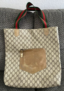 Vintage Gucci Tote Shopping Bag Brown Coated Canvas GG Web Stripe Leather Pocket