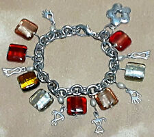 Beads and Southwest Petroglyph Style Charms Chunky Charm Bracelet - Square Glass