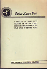 Father Knows Best, A Comedy inThree Acts, Acting Script