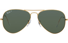 Ray Ban Aviator RB3025 Polarized Gold Frame Crystal Green Lens 62mm New With Tag