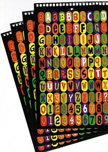 4 large Sheets Alphabet ABC Upper Lower Case 123 Stickers! Halloween BLACK