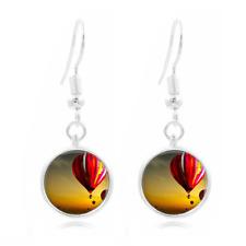 Hot air balloon glass Frea Earrings Art Photo Tibet silver Earring Jewelry #312