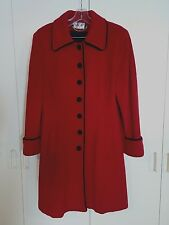 MDP-MARIO DE PINTO LADIES LOVELY RED WOOL COAT w/BLACK VELVET TRIM-MAXI SZ 8
