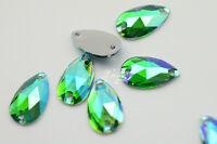 100 pcs 11mm x 18mm Acrylic beads Tear Drop Color AB Sew On Flat Back Jewels