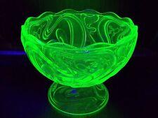 Coupe à fruits ouraline PORTIEUX FRANCE uranium glass art nouveau