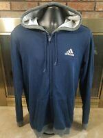 Adidas Basketball Warmup Hooded Full Zip Blue Sweatshirt Mens Size Large Gray