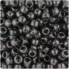 500 Jet Black Sparkle 9x6mm Barrel Pony Beads Made in the USA by The Beadery