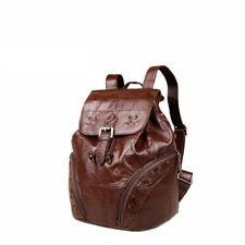 Women Travel Backpack Simple Genuine Leather Small Fashion Drawstring Bucket Bag
