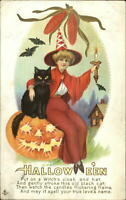 Halloween Beautiful Witch Stecher Series 216A c1910 Postcard