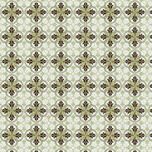 1: 12th Brown Und Salbei Grün Design Fliese Blatt Mit Blass Grau Mörtel