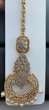 Indian Bollywood Gray Pearl Bead Gold Tone Maang Tikka Forehead Jewelry