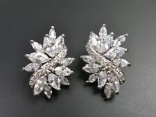 Elegant Shiny Silver Rhodium Plated CZ Cubic Zirconia Leaf Cluster Stud Earrings
