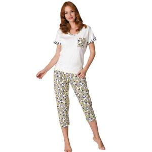 Damen Schlafanzug Pyjama Nachtwäsche Zweiteiliger Kurzarm und Caprihose  66695