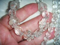 ART DECO CZECH CLEAR GRAD RONDELLE CRYSTAL BEADS VINTAGE NECKLACE Special Gift