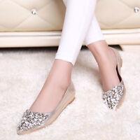 Women's Rhinestone Pointed Toe Pumps Wedding Flat Causal Crystal Ballet Shoes