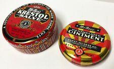 2 Vintage McNess Mentholated Ointment & Krestol Salve Empty Medicine Tins
