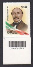 Italia Repubblica 2012 Luigi Carlo Farini con Codice Barre MNH**