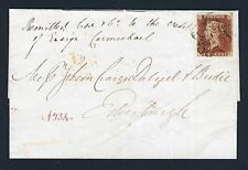 Gb Qv Penny Red Imperf. Numeral 4 in Maltese Cross On Cover Sg 8ud Vfu Cat £2000