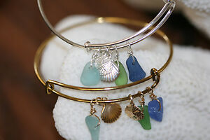 Genuine sea glass beach glass bangle bracelet sterling silver/gold filled charms