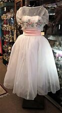 Vintage 1950s Emma Domb Chiffon Prom Wedding Homecoming Full Swing DRESS Gown