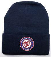 READ LISTING! Washington Nationals HEAT Applied Flat Logo on Beanie Knit Cap hat