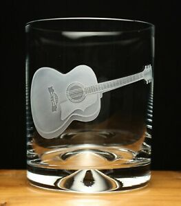 Acoustic Guitar musical instrument engraved glass tumbler gift present