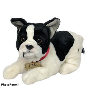 "FAO Schwarz Boston Terrier French Bulldog Black White Puppy Dog Plush 2018 12"""