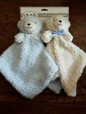 SUMERSAULT SECURITY BLANKET BEAR LOT 2 BABY BLUE/WHITE