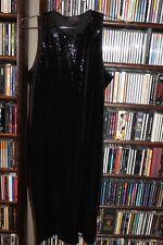 Ralph Lauren Black Saturday Night knit Velvety Dress w shiny circles M NEW (JR)