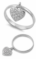 Sterling Silver Woman's White CZ Dangling Heart Charm Ring Band 11mm Sizes 3-13