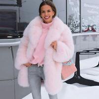 Top Women Whole Skin Real Vulpes Fox Fur Coat Jacket Thick Lapel Collar Overcoat