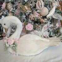 Sweet Shabby Cottage Chic White Feather Swan Princess Pink Rose Christmas Decor