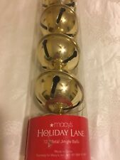 NIB-12 Gold Jingle Bells- 60mm Macy's- Great for Golden Anniversary Party
