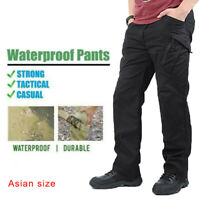 Men Tactical Waterproof Work Cargo Long Pants with Pockets Loose Trousers