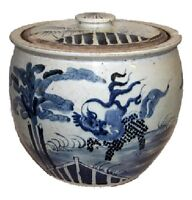 """Vintage Style Blue and White Kylin Qilin Motif Bowl With Lid Jar 12"""""""