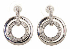 Swarovski Elements Crystal Circle Mini Pierced Earrings Rhodium Plated New 7135z